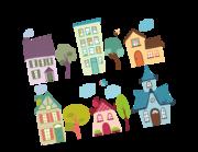 Lieferansicht Wandtattoo Bunte Cartoon Häuser