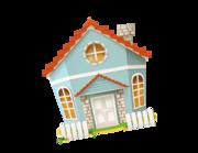 Wandtattoo Das blaue Haus mit Zaun Lieferansicht