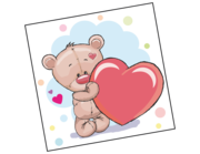 Wandtattoo Julius der Bär mit Herz Lieferansicht