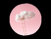 Lieferansicht Wandtattoo Rosa Wolkenleiter