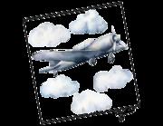 Lieferansicht Wandtattoo Wolkenflieger Aquarell