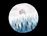 Lieferansicht Wandtattoo Wald im Nebel Aquarell