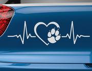 Autoaufkleber Herzschlag mit Pfote