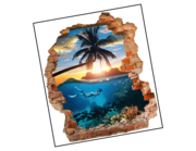 Lieferansicht 3D Wandtattoo Tropical Waters