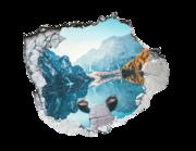 Lieferansicht 3D Wandtattoo Bergsee