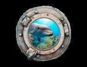 Lieferansicht 3D Wandtattoo Delfin im Bullauge