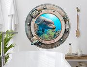 3D Wandtattoo Delfin im Bullauge