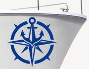 Bootsaufkleber Kompassrose & Anker