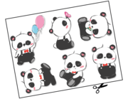 Lieferansicht Wandtattoo Cartoon Panda Bunch