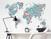 Wandtattoo Weltkarte Ethno-Style