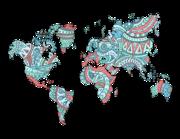 Lieferansicht Wandtattoo Weltkarte Ethno-Style