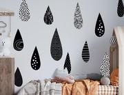Wandtattoo Black Raindrops