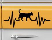 Autoaufkleber Herzschlag mit Katze