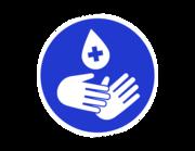 Lieferansicht Wandtattoo Hände desinfizieren