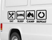 Autoaufkleber Eat Sleep Camp Repeat