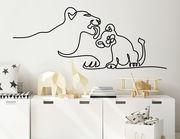 Wandtattoo One Line Art - Lion & Baby