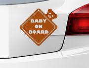 "Autoaufkleber ""Baby on Board Ted"" in Rautenform mit Teddy"