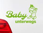 """Autoaufkleber """"Baby-Girl unterwegs"""" mit Babyfigur + Schleife"""