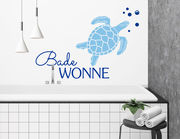 """Wandtattoo """"Badewonne"""" mit Schildkröte & kleinen Luftblasen"""