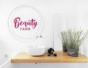 """Wandtattoo """"Beauty Farm"""" für die Make-Up-Ecke in Bad & Co."""