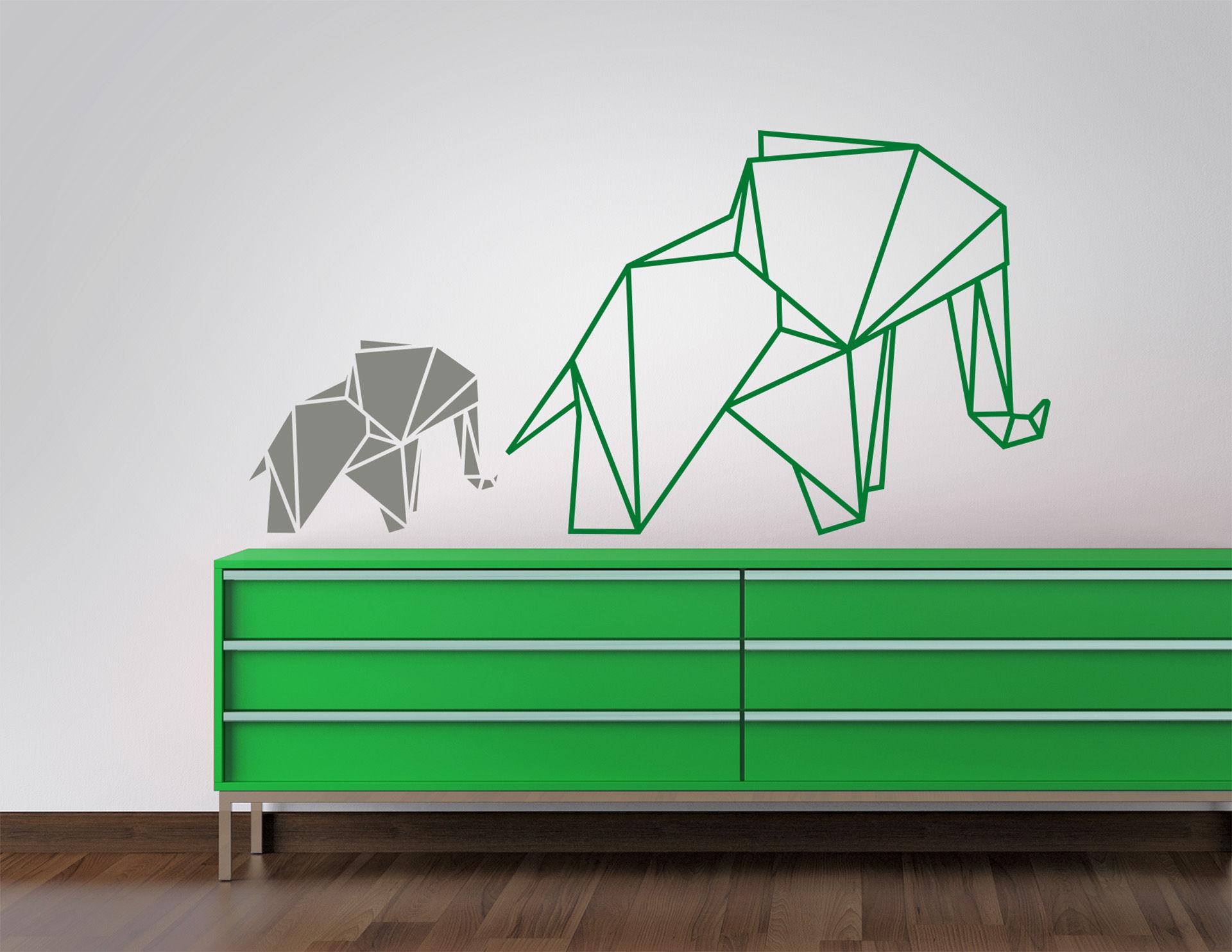 Wandtattoo Faltkunst Elefanten