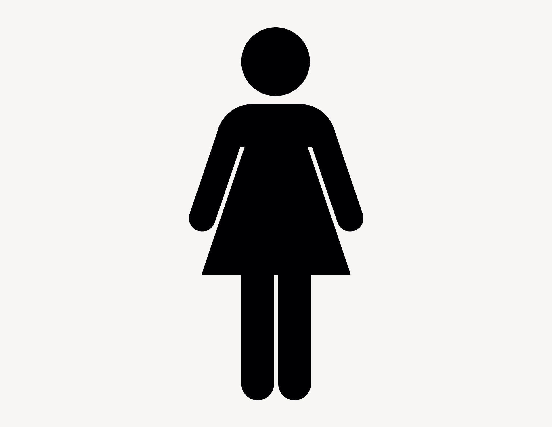 Frau Zeichen - Aufkleber für Gewerbe