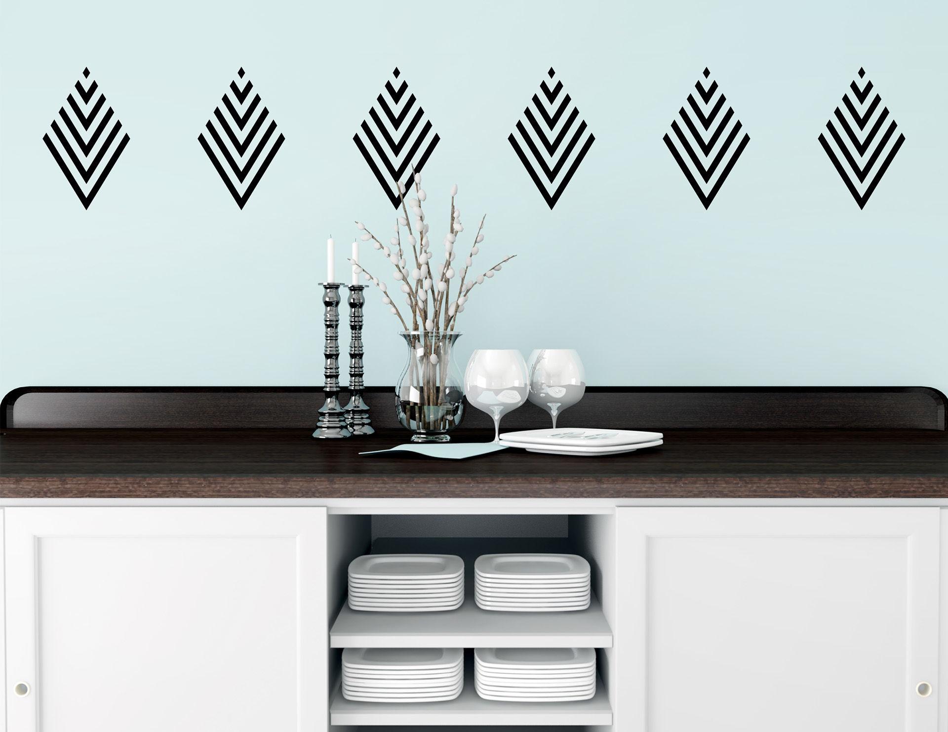 Art Nouveau - Rhomb, Wandtattoo-Set mit 6 schönen Elementen