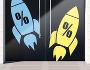 Aufkleber Prozente Rakete