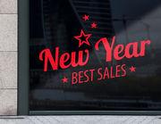 """Aufkleber """"New Year Sale"""" für Geschäft und Schaufenster"""