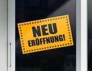 """Aufkleber """"NEU Eröffnung"""" für Laden und Geschäft"""