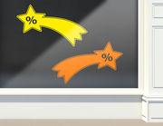 Aufkleber Prozente Sternschnuppen