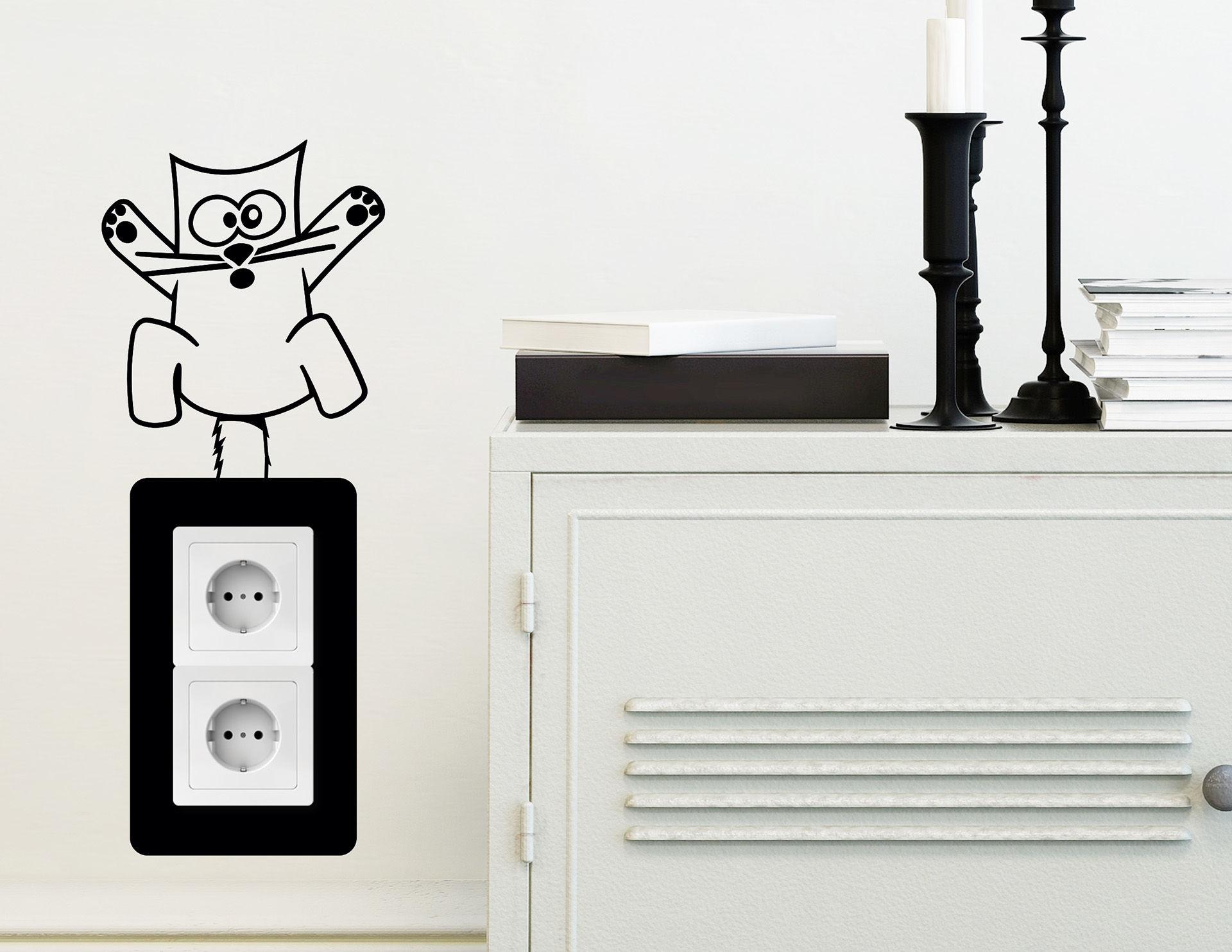 Wandtattoo Crazy-Cat #2 für Lichtschalter und Steckdose
