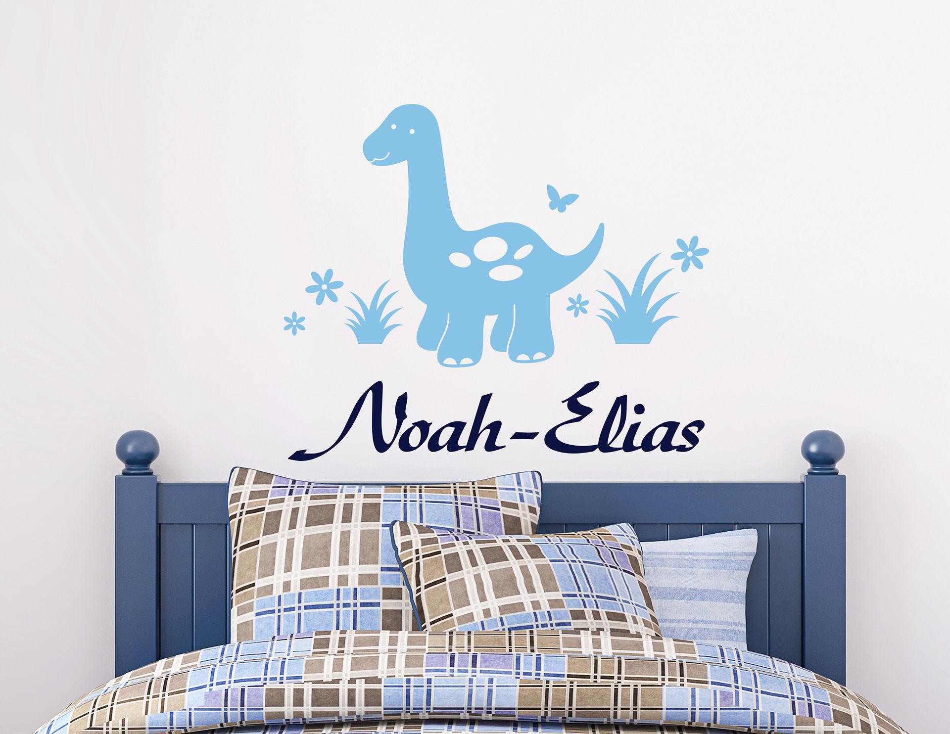 Der kleine Dino - Wandtattoo mit Wunschname für Kinder