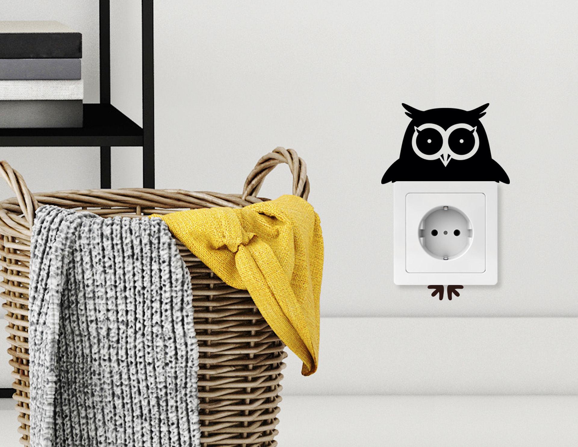 Aufkleber eule ursel f r lichtschalter und steckdose for Bootsaufkleber design