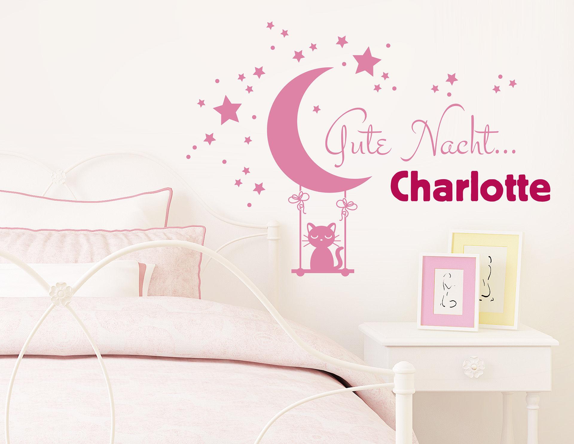 Gute Nacht... - Wandtattoo mit Wunschname fürs Kinderzimmer