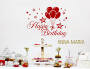 Happy Birthday - Wandtattoo mit Wunschname für die Party