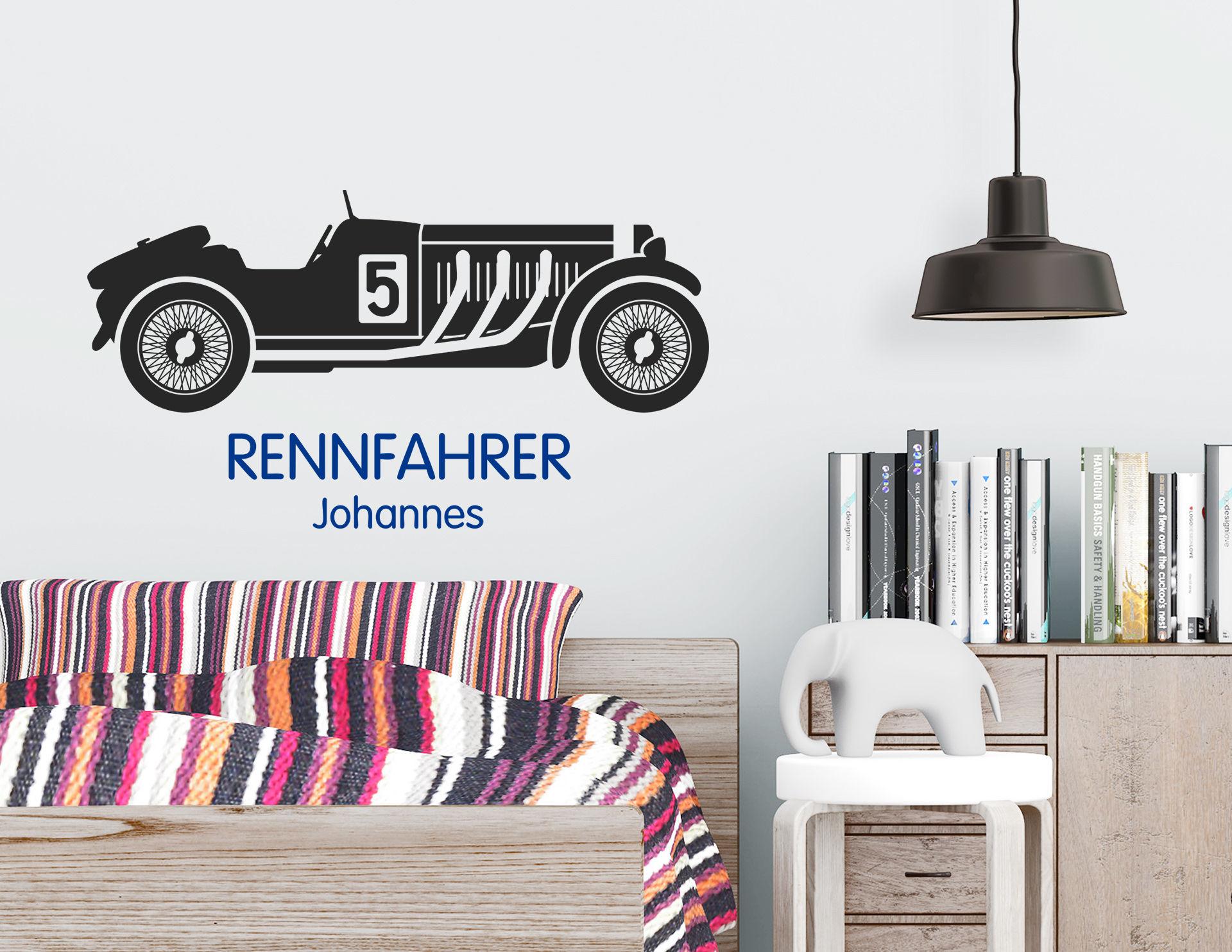 Rennfahrer - Wandtattoo mit Wunschname für echte Auto-Fans