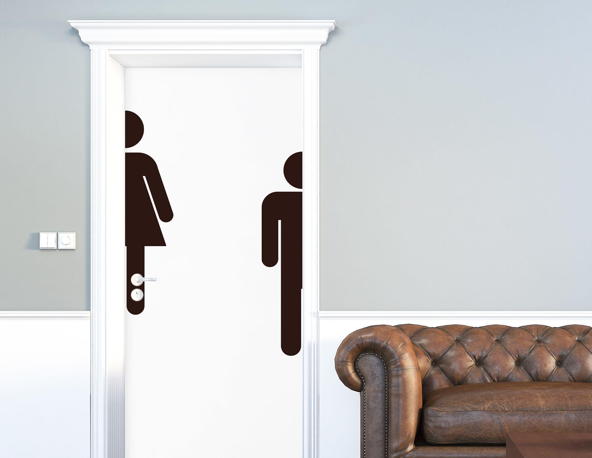 Wc piktogramm xl aufkleber f r die t r in bad toilette for Bootsaufkleber design