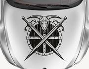 Autoaufkleber Battle of Vikings mit Schild, Schädel, Schwert