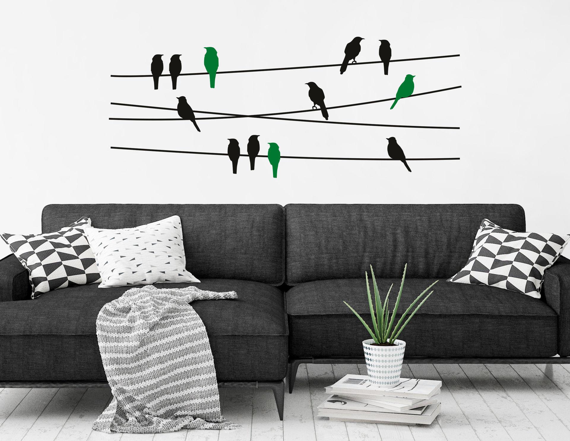 """Wandtattoo """"Vögel auf der Leine"""" mit fröhlicher Vogelschar"""