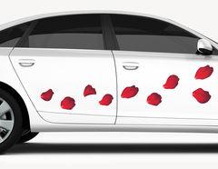 Autoaufkleber Rote Rosenblätter