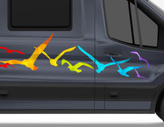 Autoaufkleber Regenbogen Möwen
