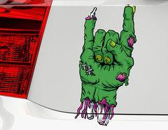 Autoaufkleber Zombie Hand Mano Cornuta