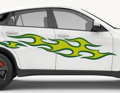 Autoaufkleber Green Flames