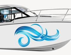 Bootsaufkleber Welle Curls