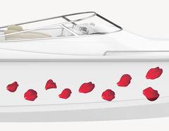 Bootsaufkleber Rote Rosenblätter