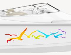 Bootsaufkleber Regenbogen Möwen