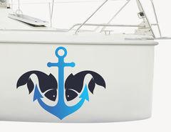 Bootsaufkleber Ankerfisch