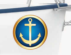 Bootsaufkleber Anker Ocean Gold