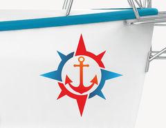 Bootsaufkleber Anker & Kompass